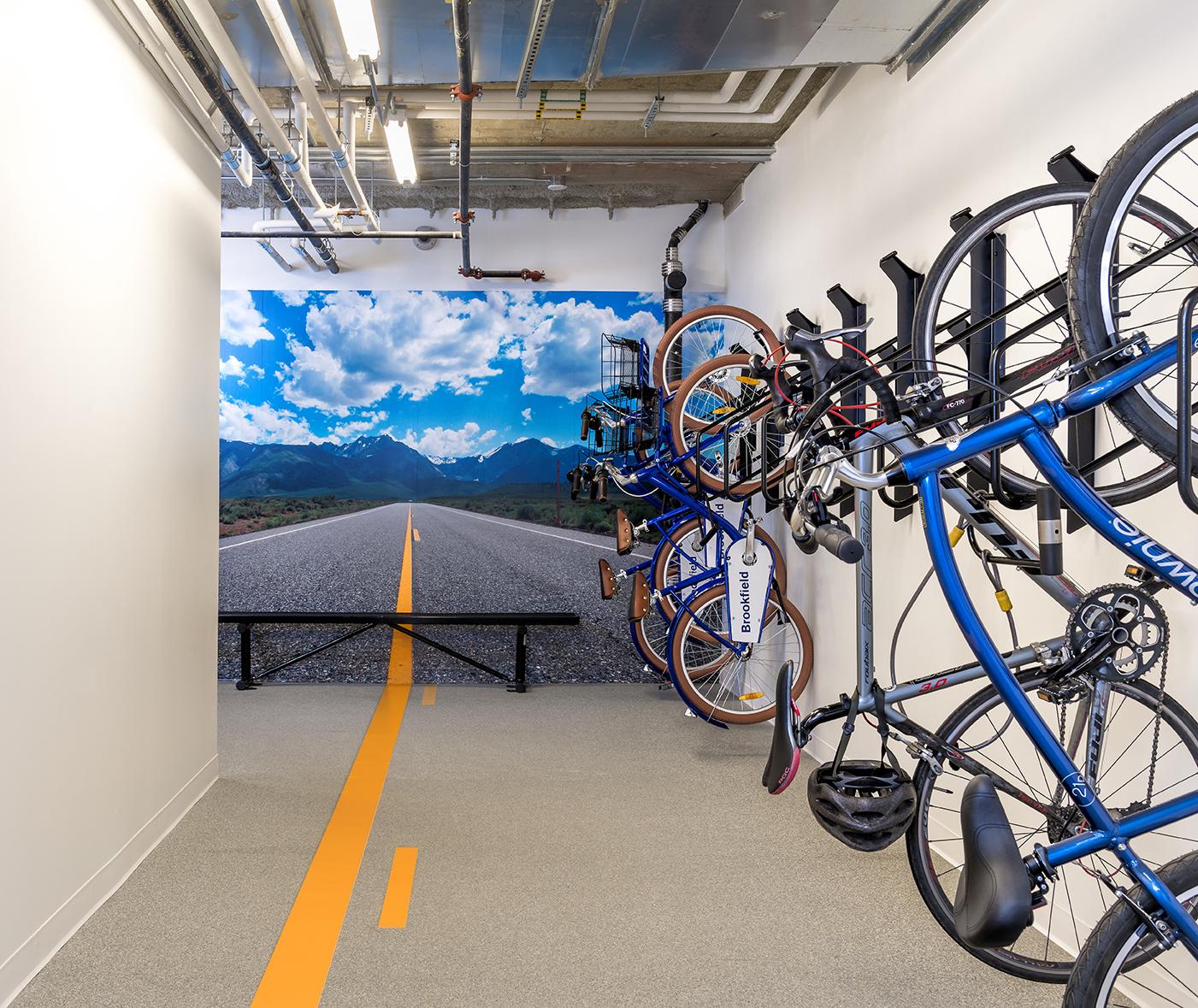 A bike storage room