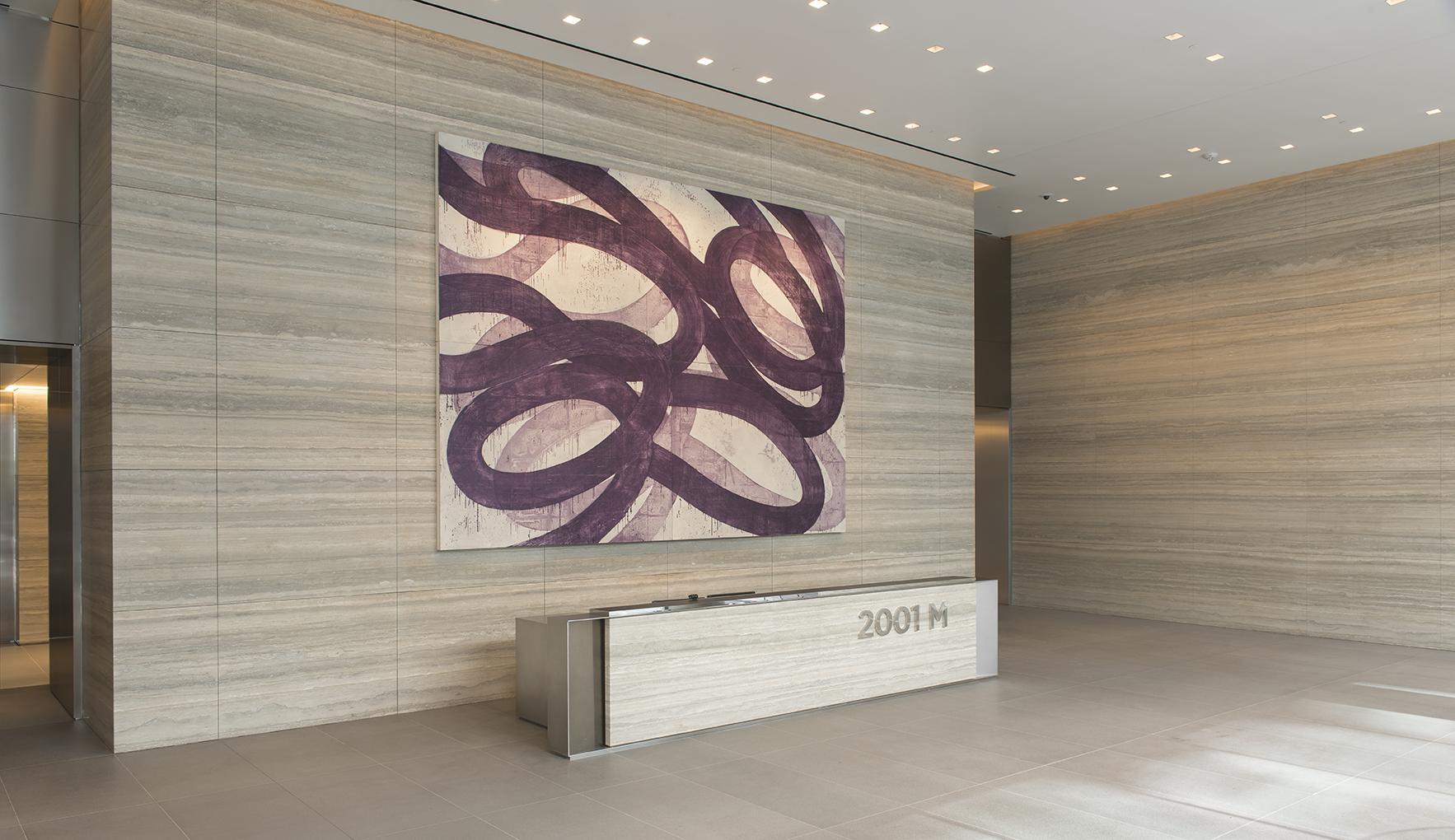 A lobby in an office building
