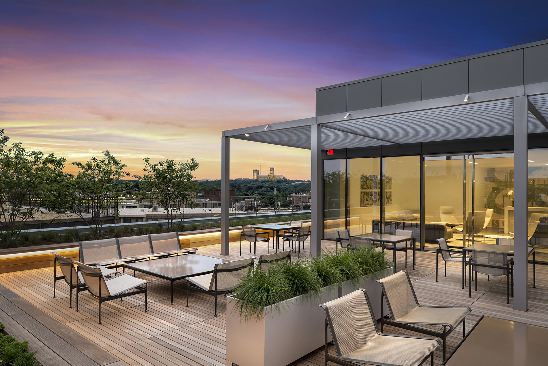 Rooftop lounge on an office building