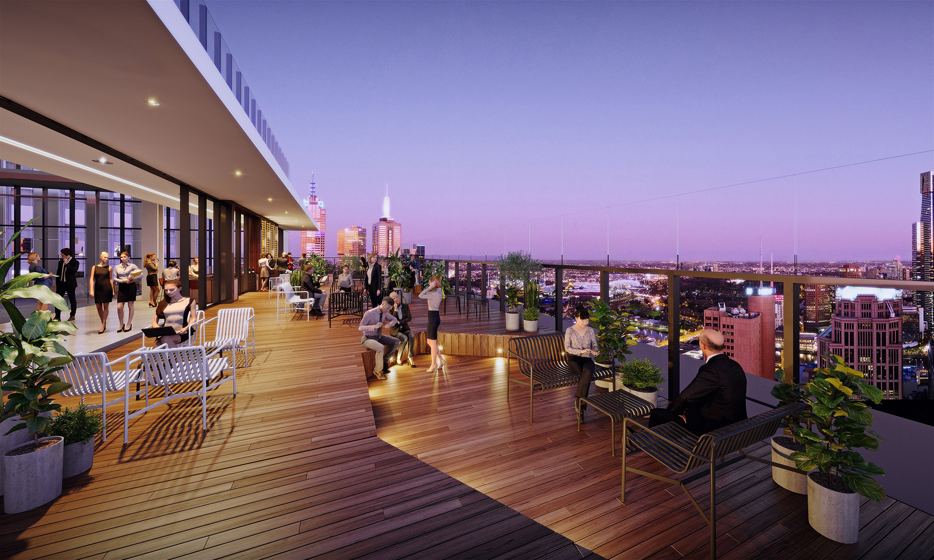 A rooftop terrace