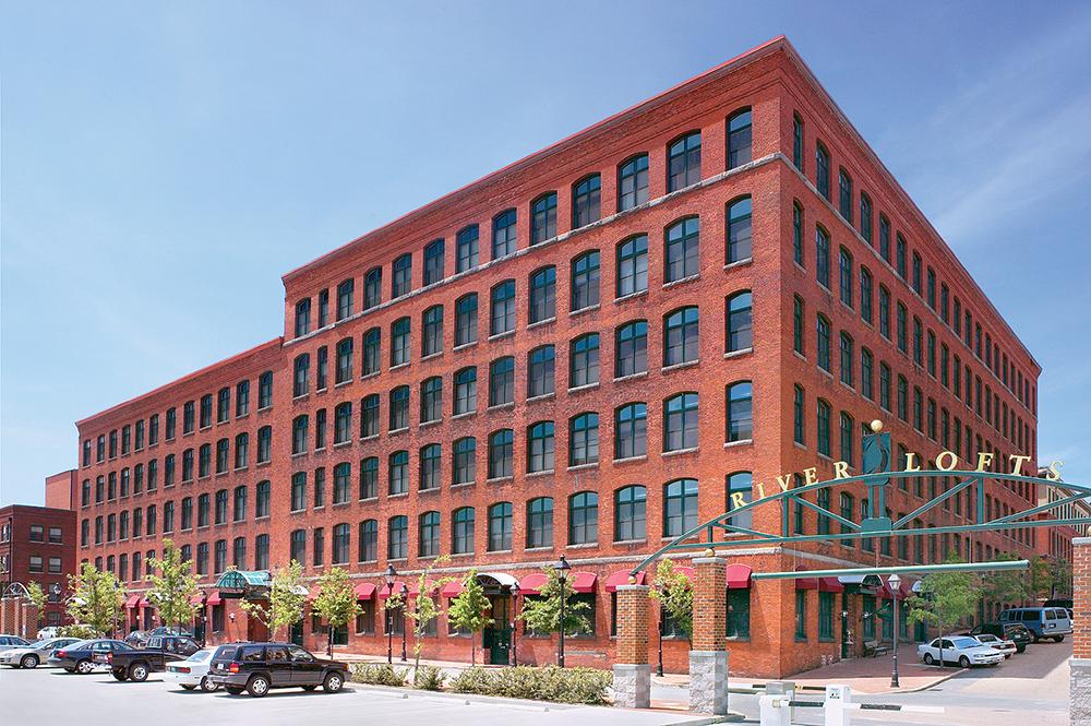A historic brick apartment building