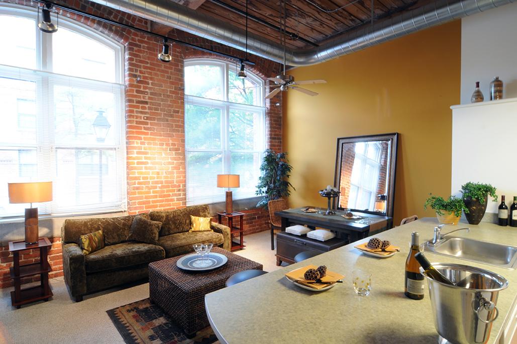 Living room of an apartment unit loft