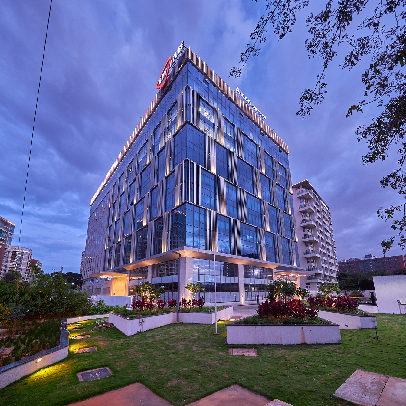 A modern glass office building in India