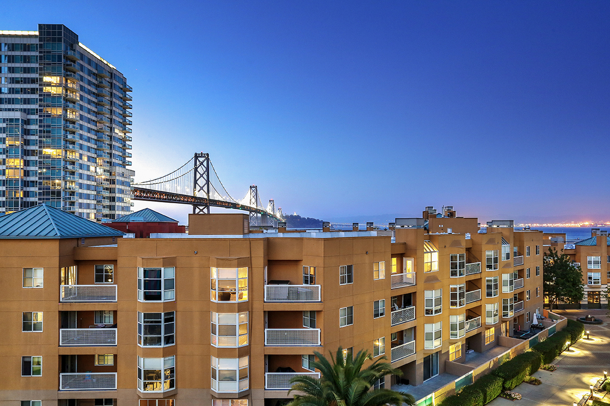 View of San Francisco Bay Bridge from an apartment complex