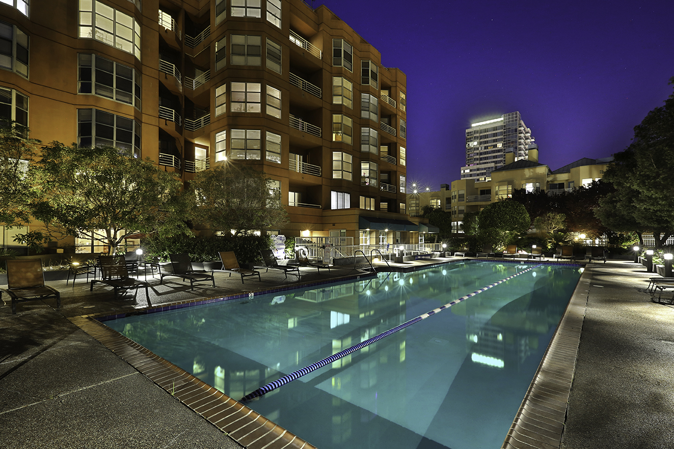 Pool area of an apartment complex