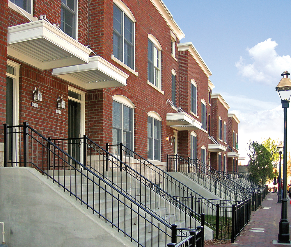 Front stoops of apartment townhomes