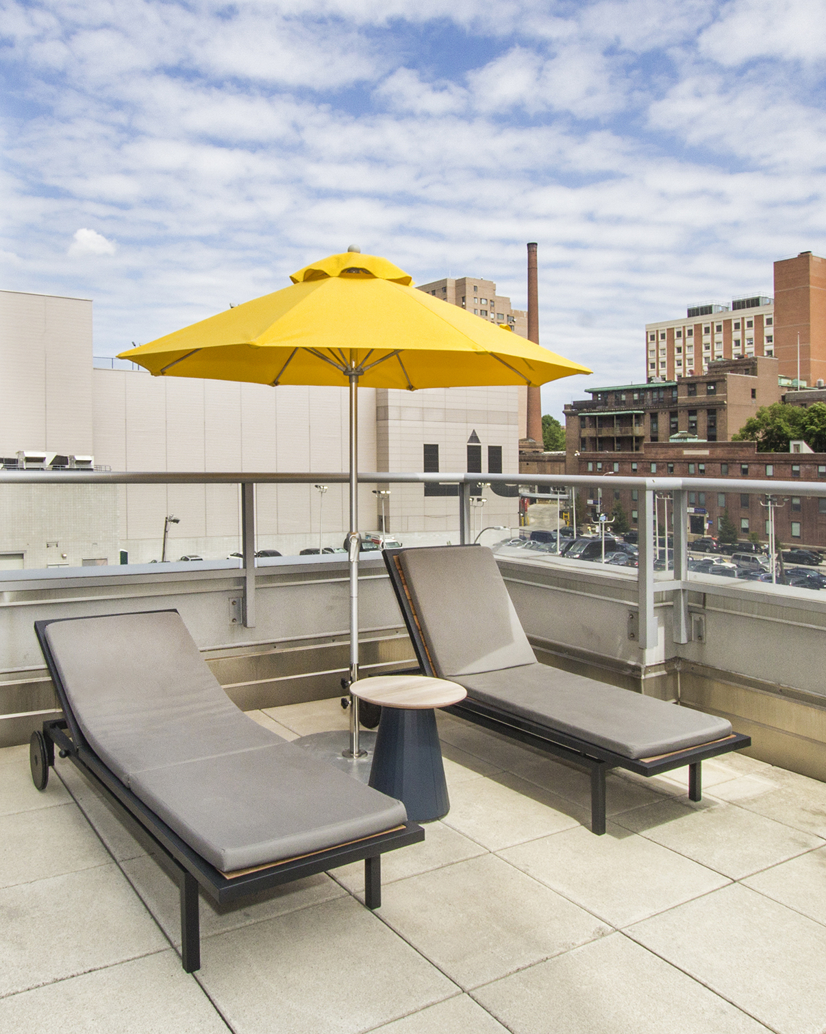 Rooftop terrace at an apartment building