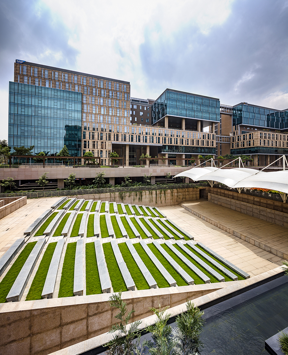 Landscaped area of an office complex