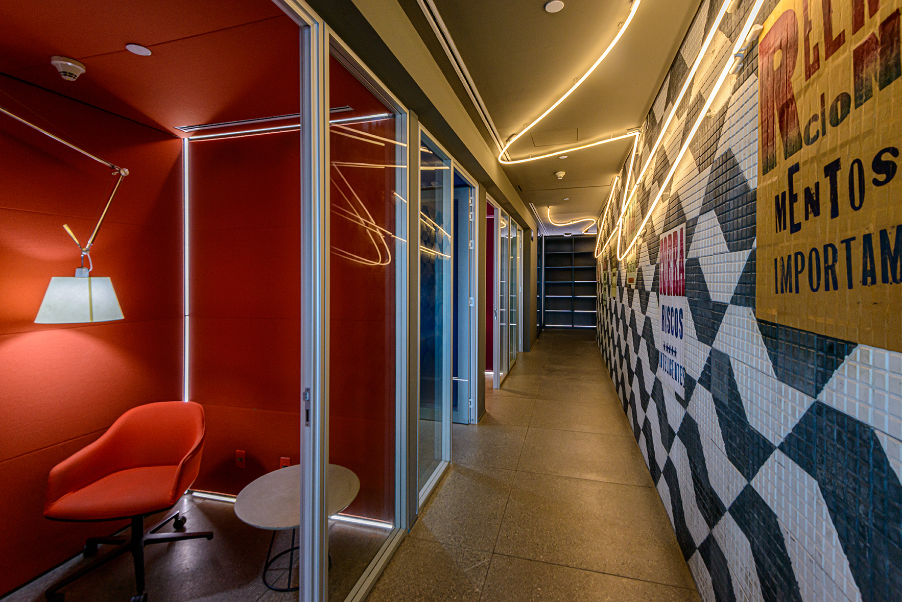 Breakout space in a modern office building