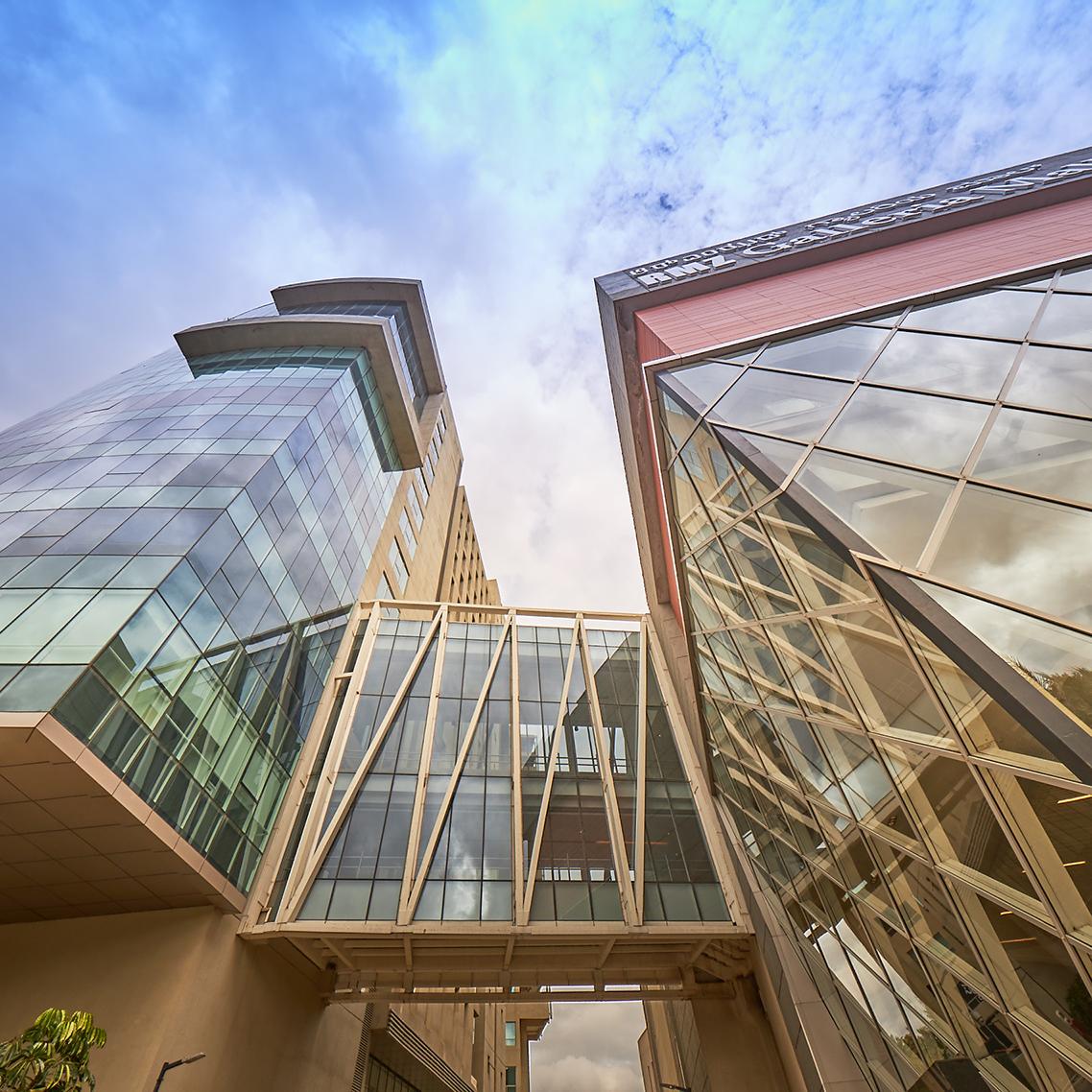 Detail shot of a mall's skybridge