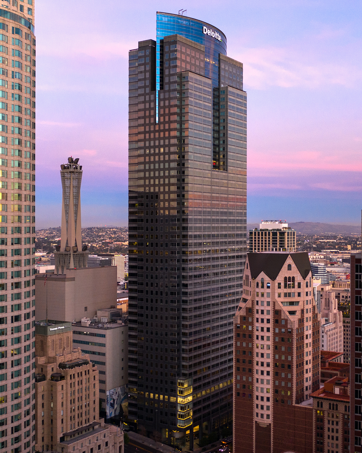 View of skyscrapers in Downtown LA