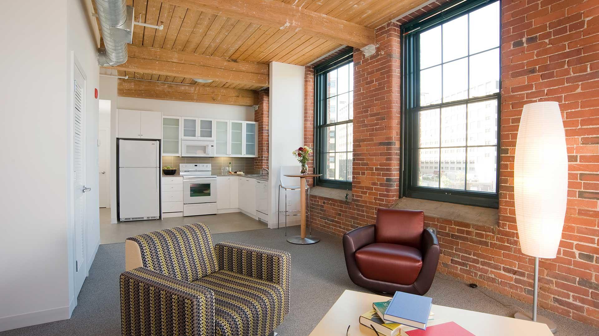 Ktichen of a loft-style apartment building