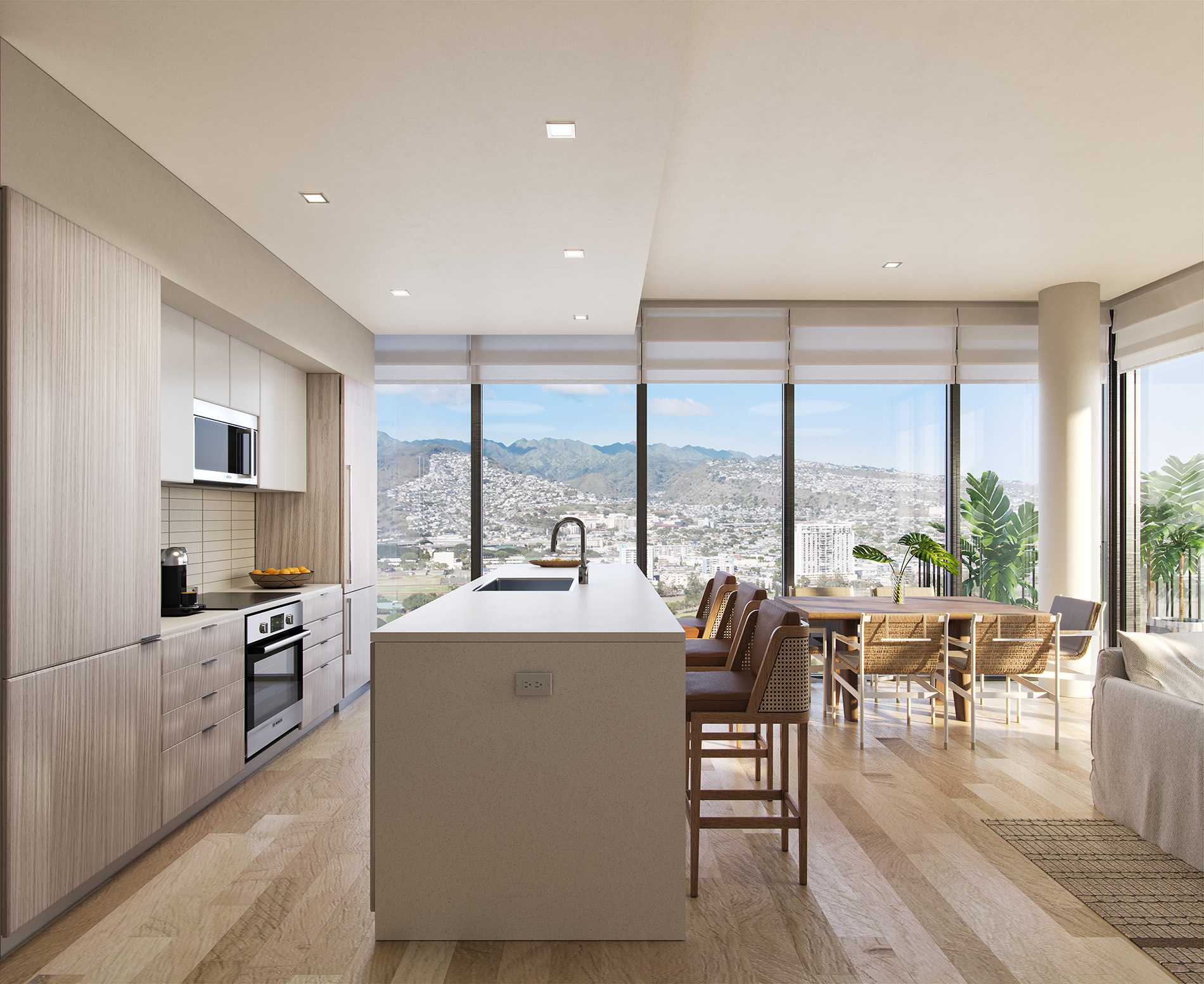 Interior of an apartment with view of the ocean