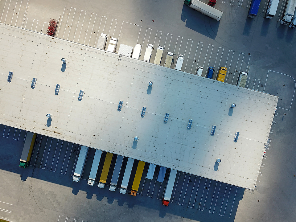 Overhead view of a logistics warehouse