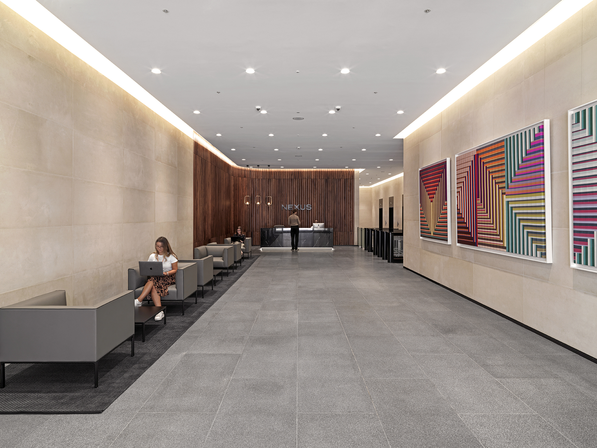Lobby of a newly renovated office building