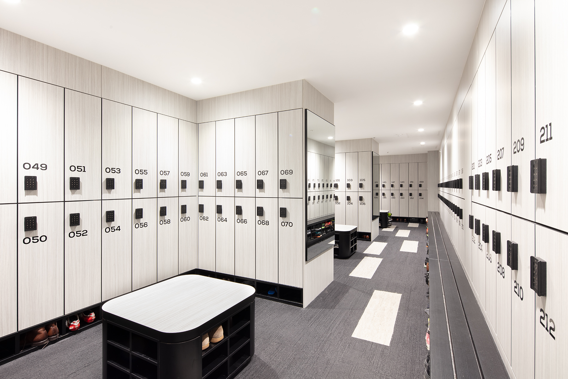 Locker room in an office building
