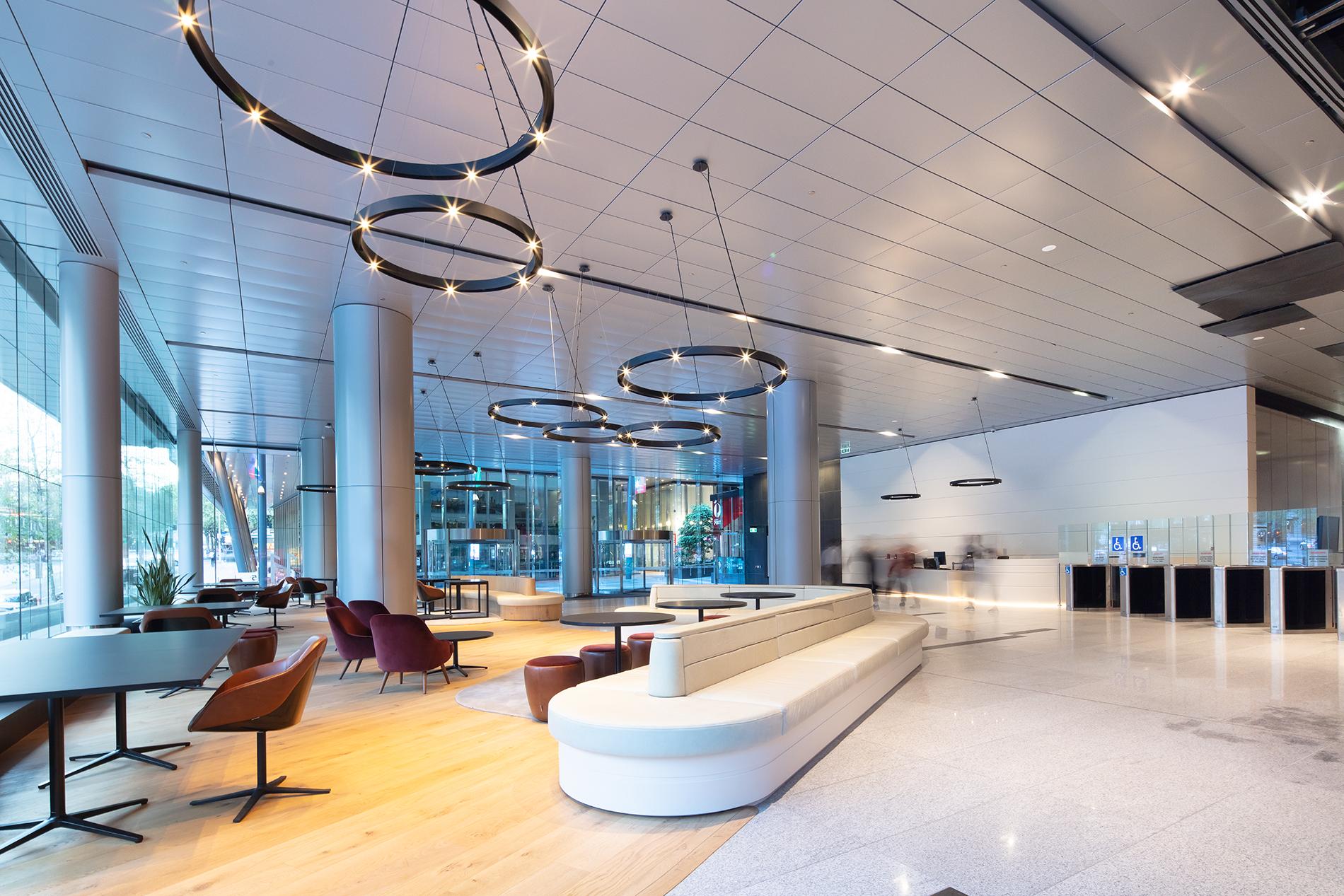 A modern office lobby