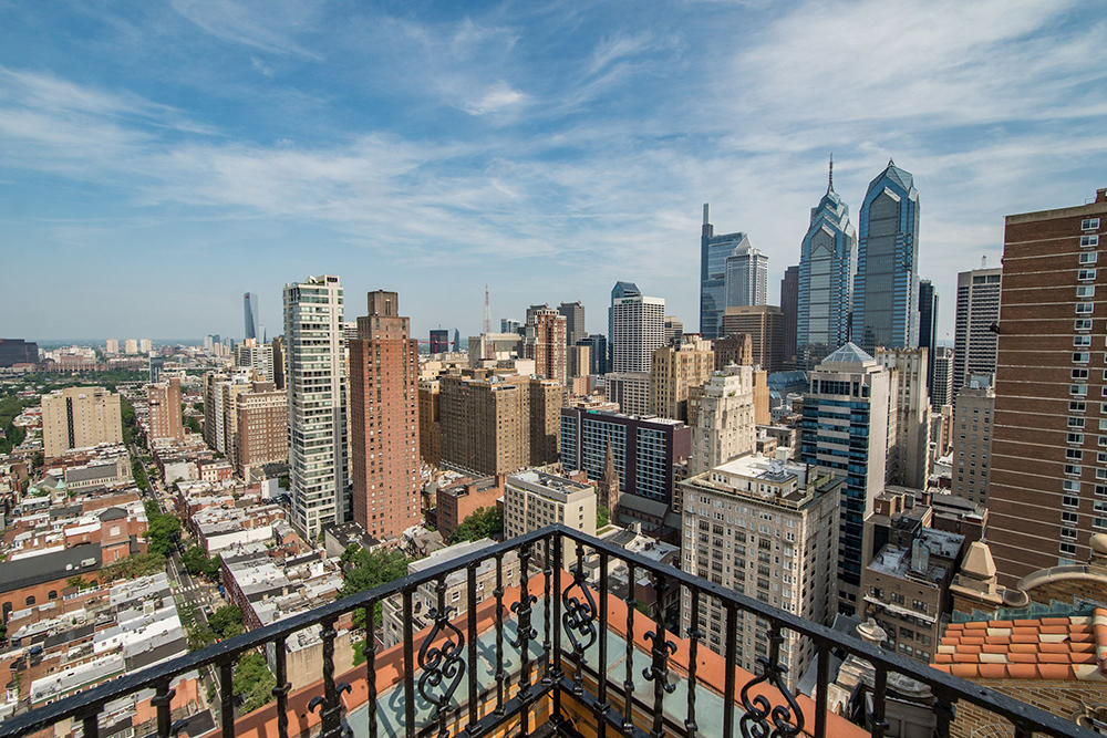 View of Philadelphia from the top of an apartment building