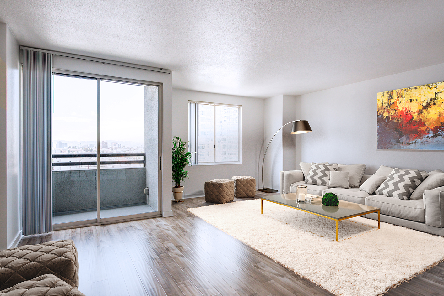 Living room in an apartment unit