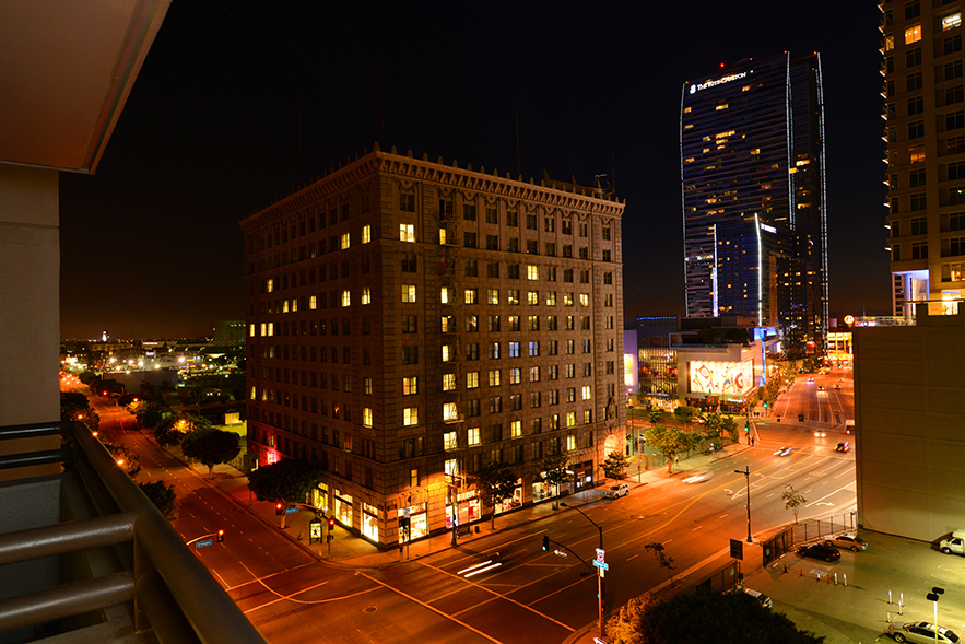 A nighttime view of The Met apartments