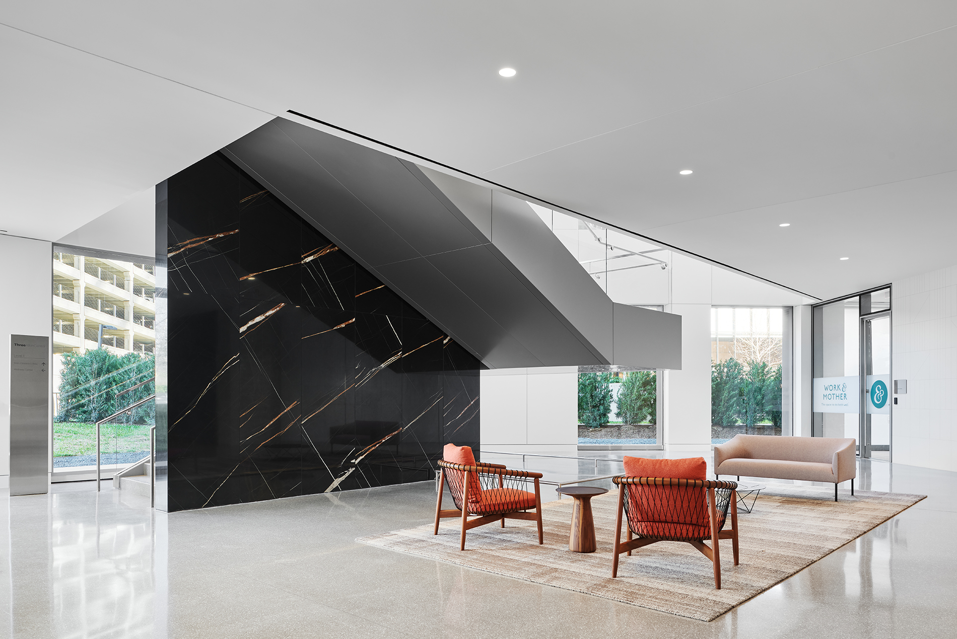 Lobby in a modern office building