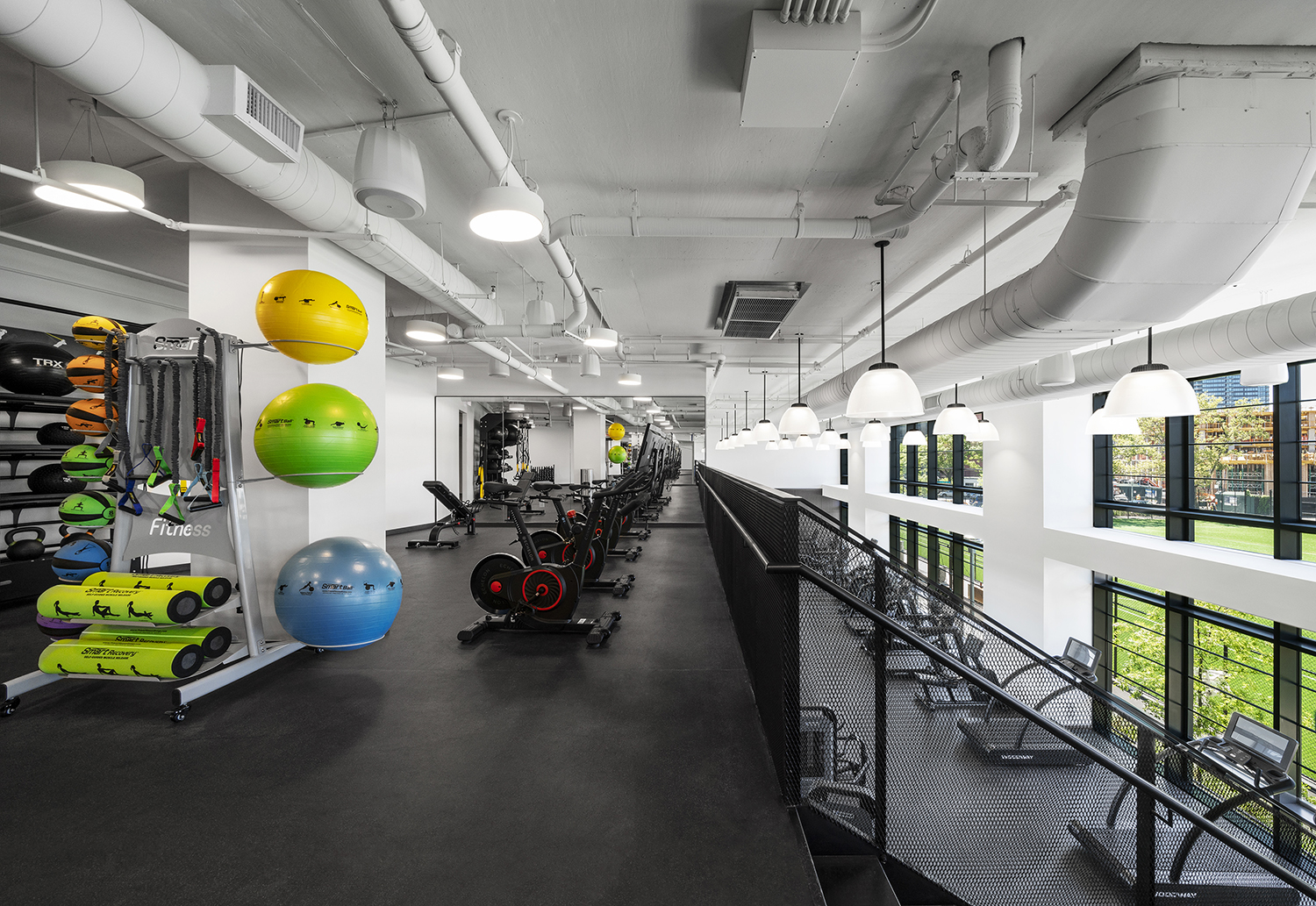 Two story gym in an apartment building
