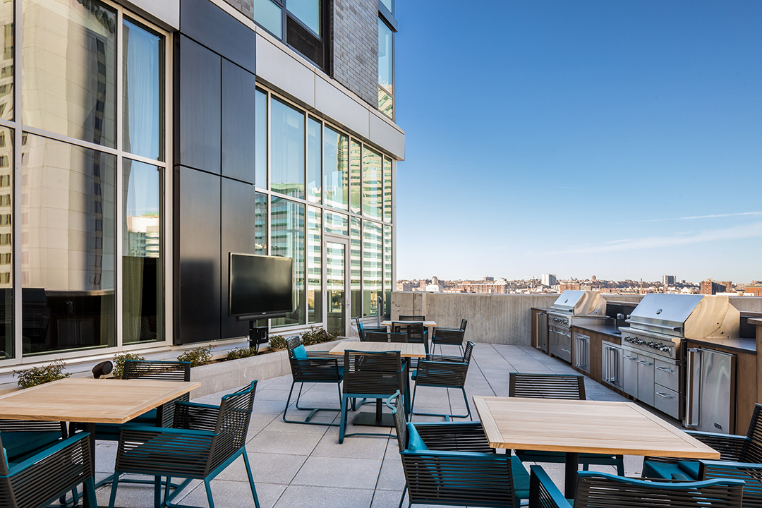 Roof deck terrace of an apartment building