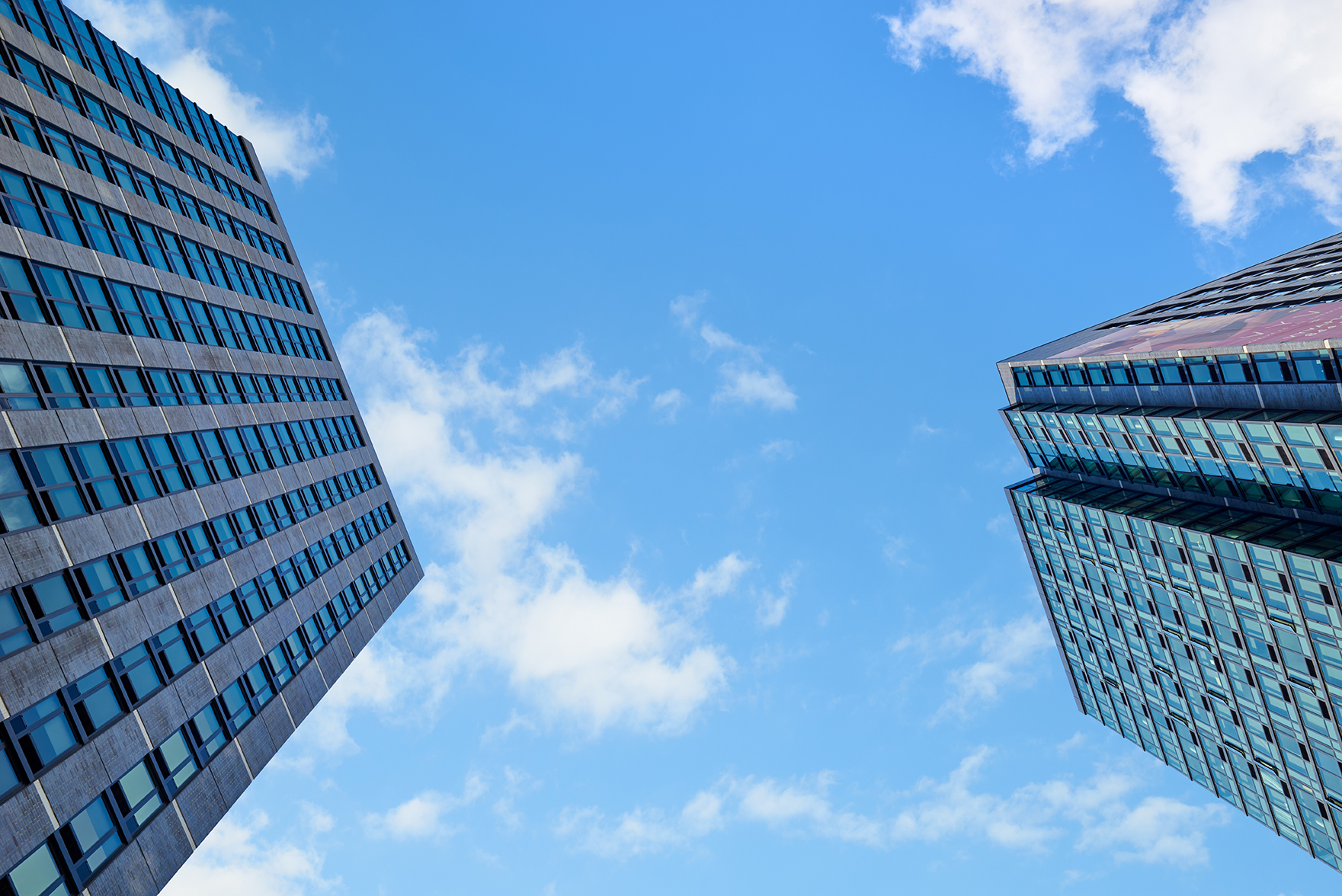 Detail shot of 2 high-rise residential towers