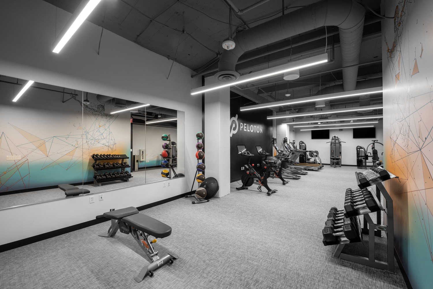 Indoor image of the gym with many aerobic instruments with carpet flooring.