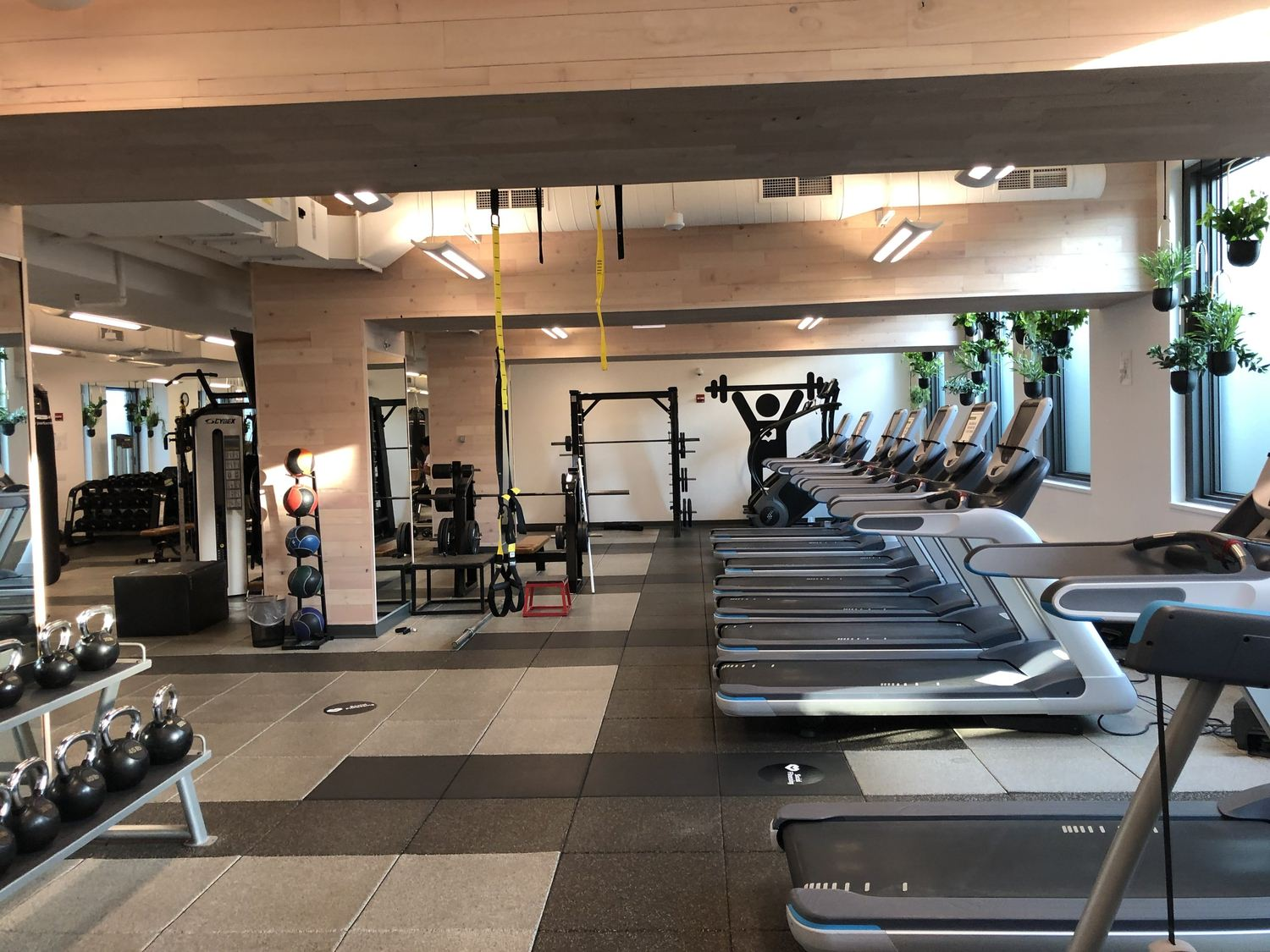 A gym with a row of treadmills and some kettlebells, as well as a weight bench.