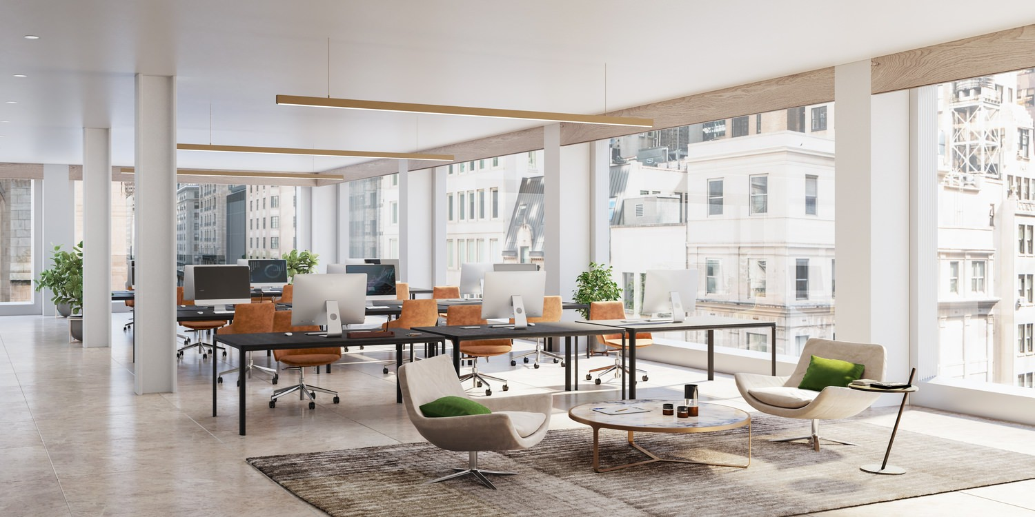 A  sleek, modern office space with open air desks and white and gold accents. The city is visible through the windows.