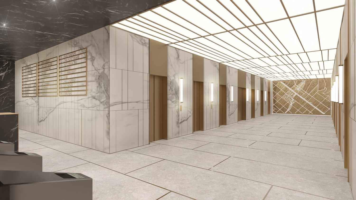 A large room that has marble tile on the walls and floor and there are elevator doors that are on the side of it.