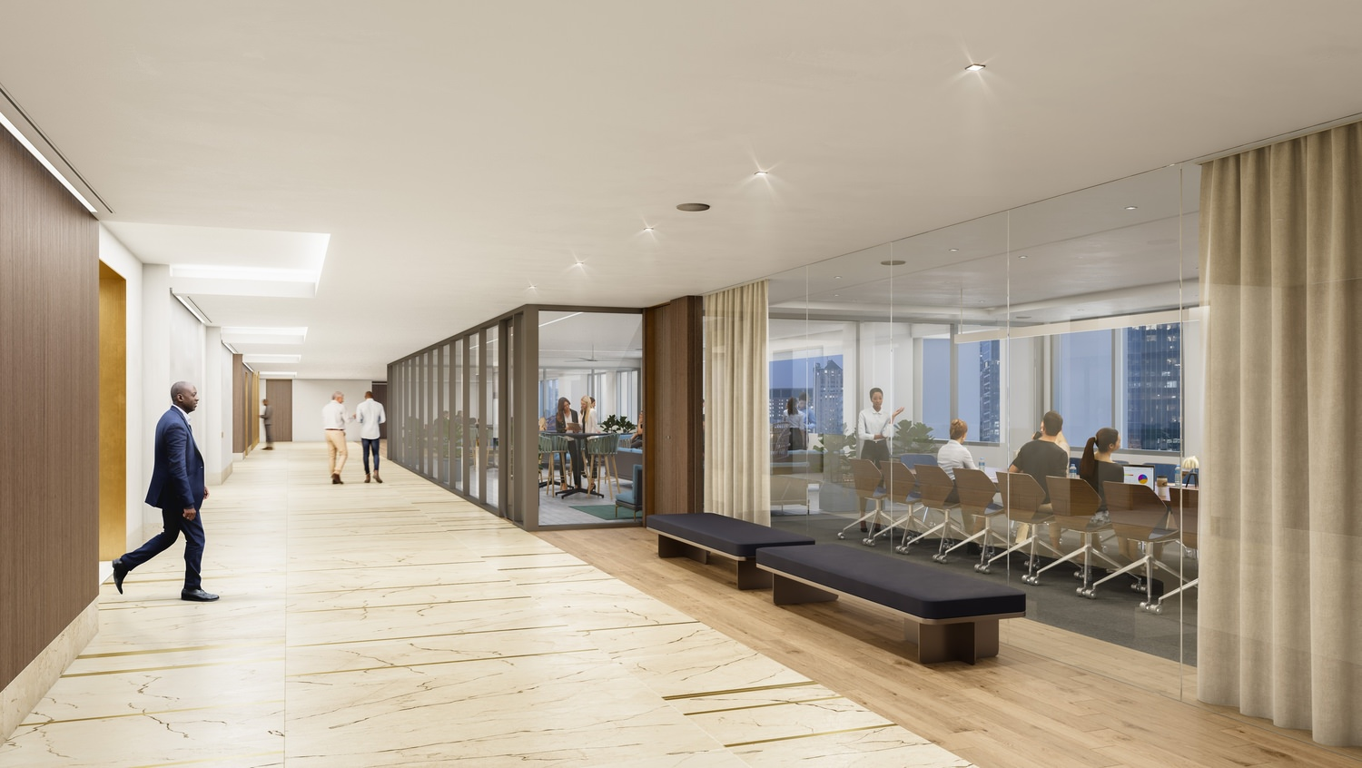 A view of an office building that has a hallway with glass doors that you can see into a board room from.