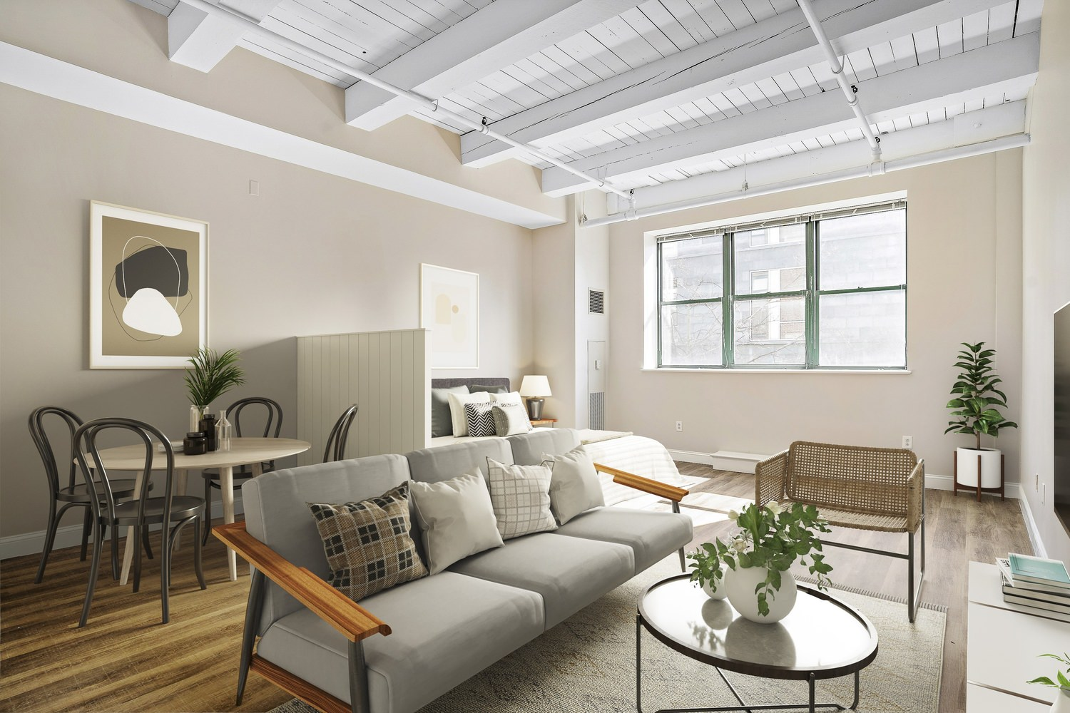 Indoor decorated living room with a couch and a table and furnitures , white ceiling