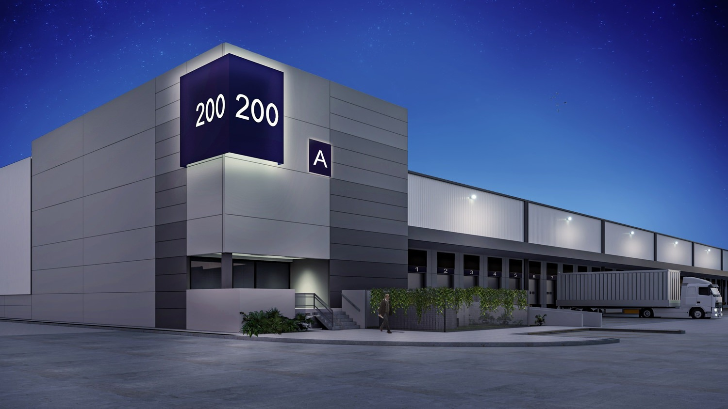 A large building that is labeled as 200 A with semi trucks that are backed into the loading bays of it.