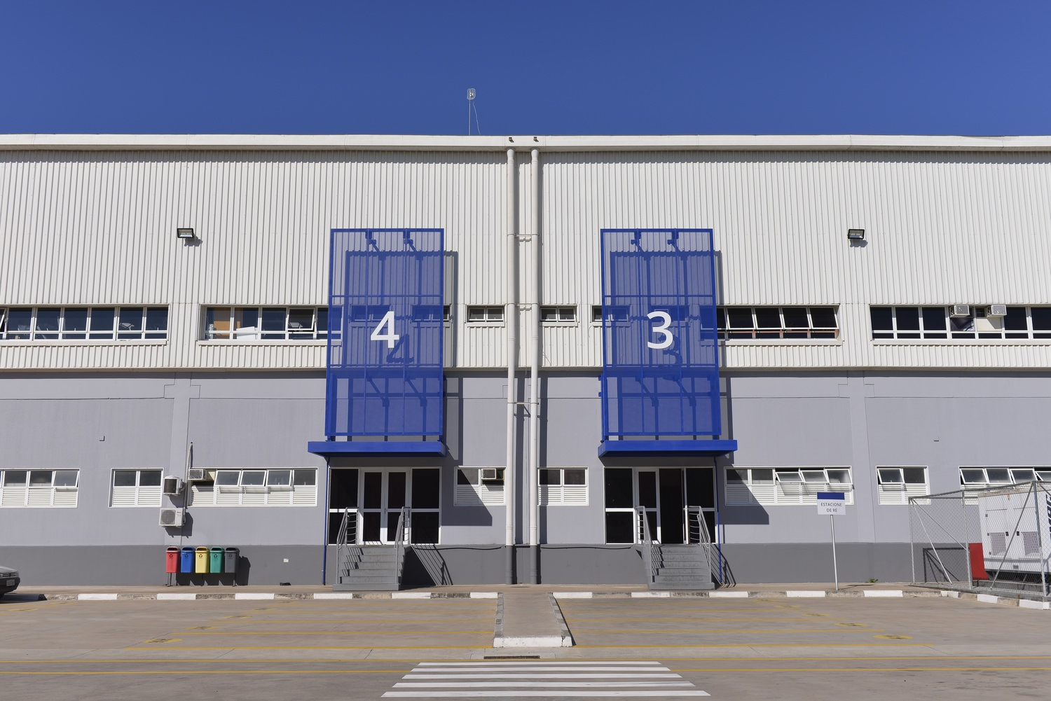 Entrances 4 and 3 to the building.