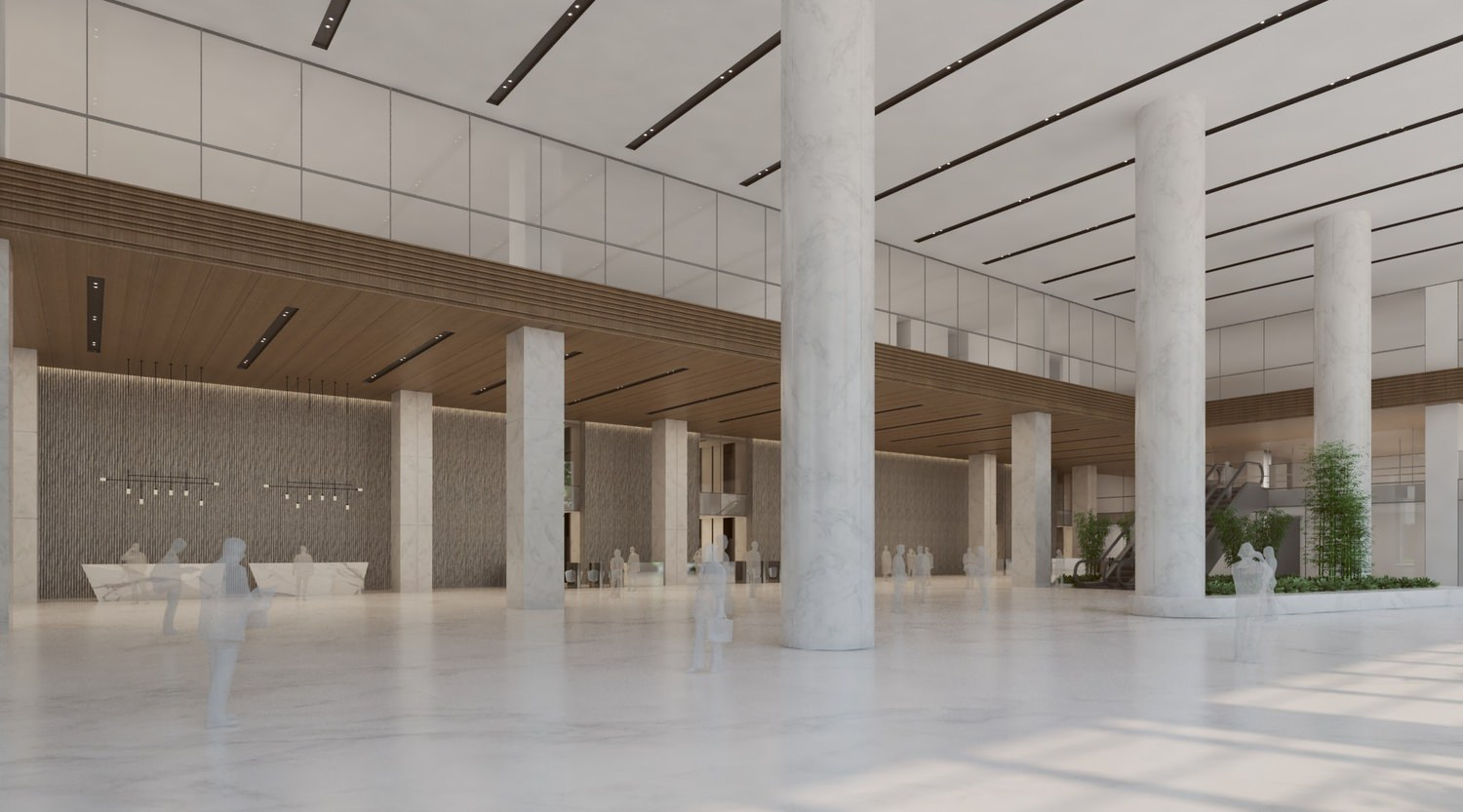 A large white marbled lobby full of columns and tiles that is within a big building.
