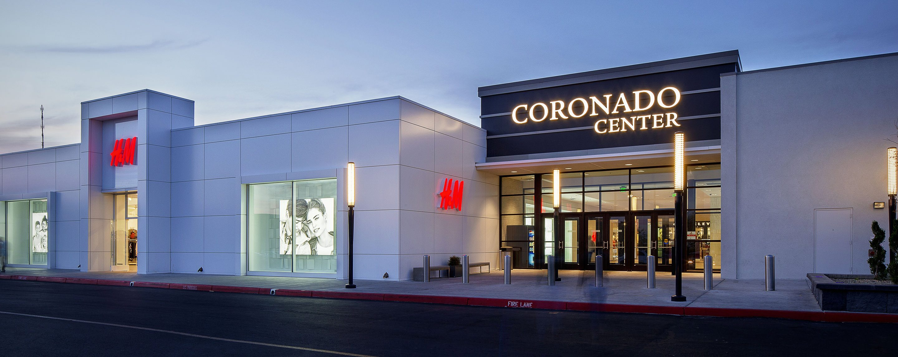 The outdoor entrance to Coronado Center is seen next to an H&M store in the early morning hours.