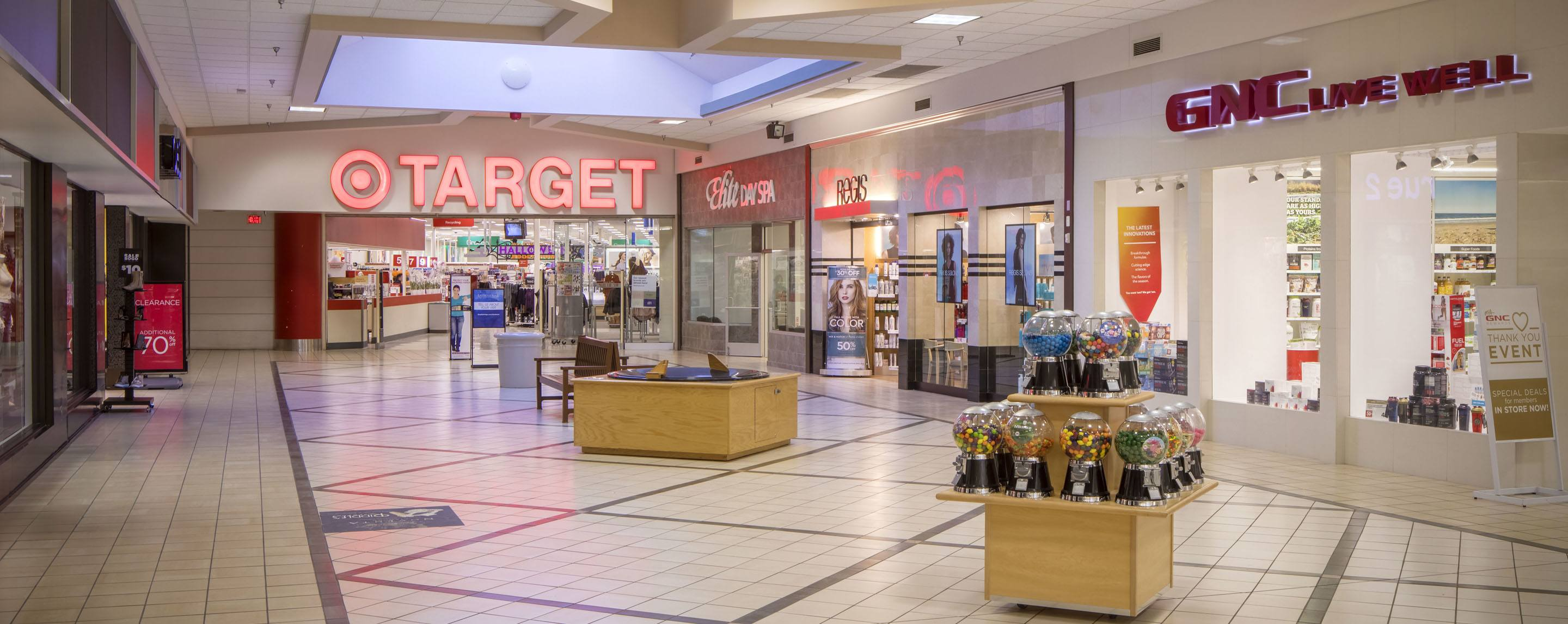 An interior shot of the Eastridge Mall. A Target storefront stands at the end of the hall.
