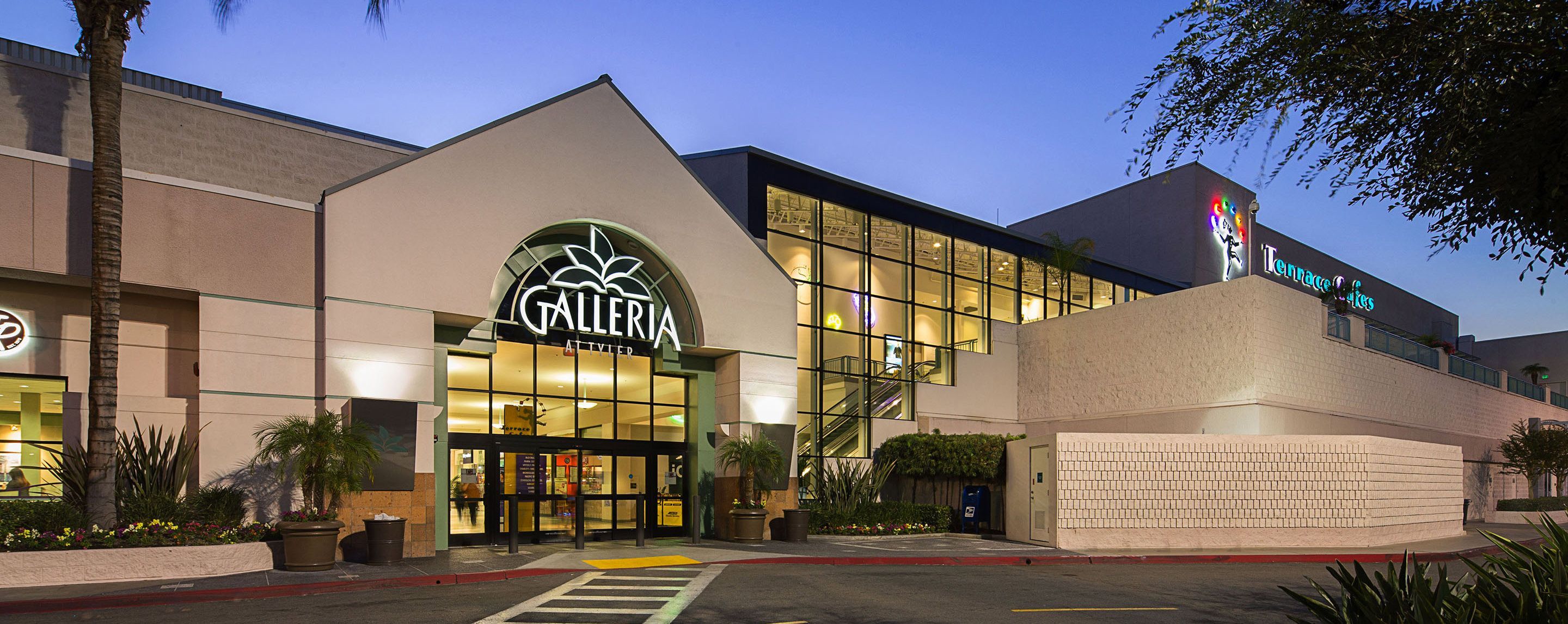 Northeastern entrance to the Galleria at Tyler shopping mall in Riverside California