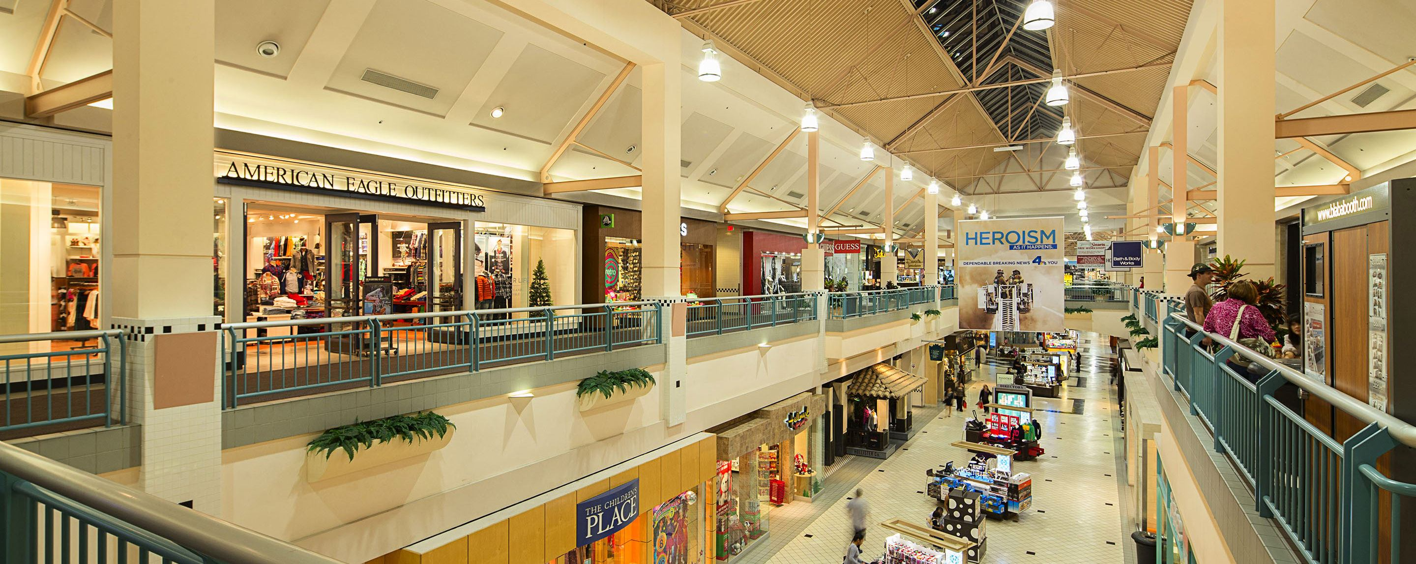 American Eagle Outfitters is on the second floor of the mall, above The Children's Place.