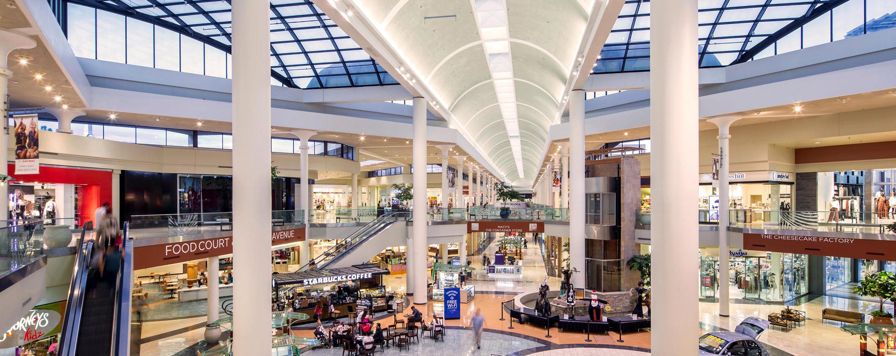 Journeys, Starbucks, and the food court are in this plaza of the mall, which leads to Macy's and The Cheesecake Factory.