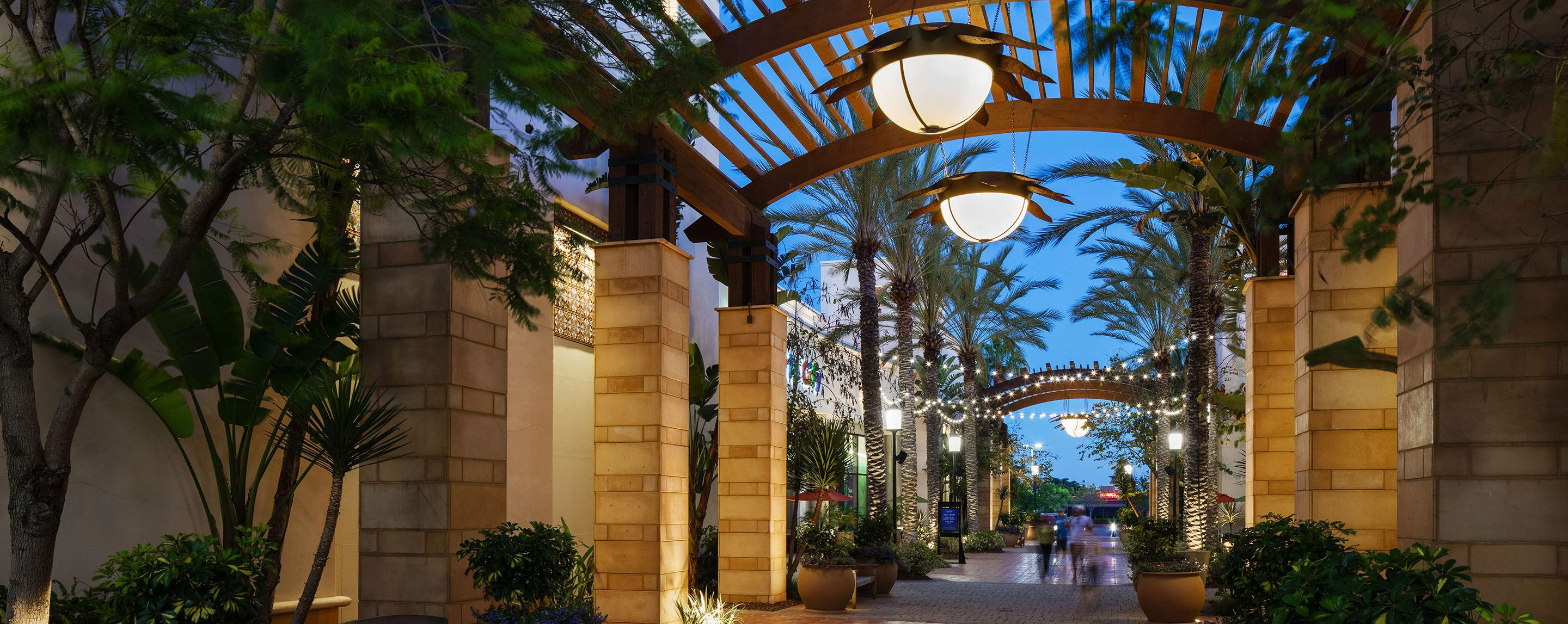 Lights are hung from an archway in an outside area filled with plants and palm trees near some buildings.