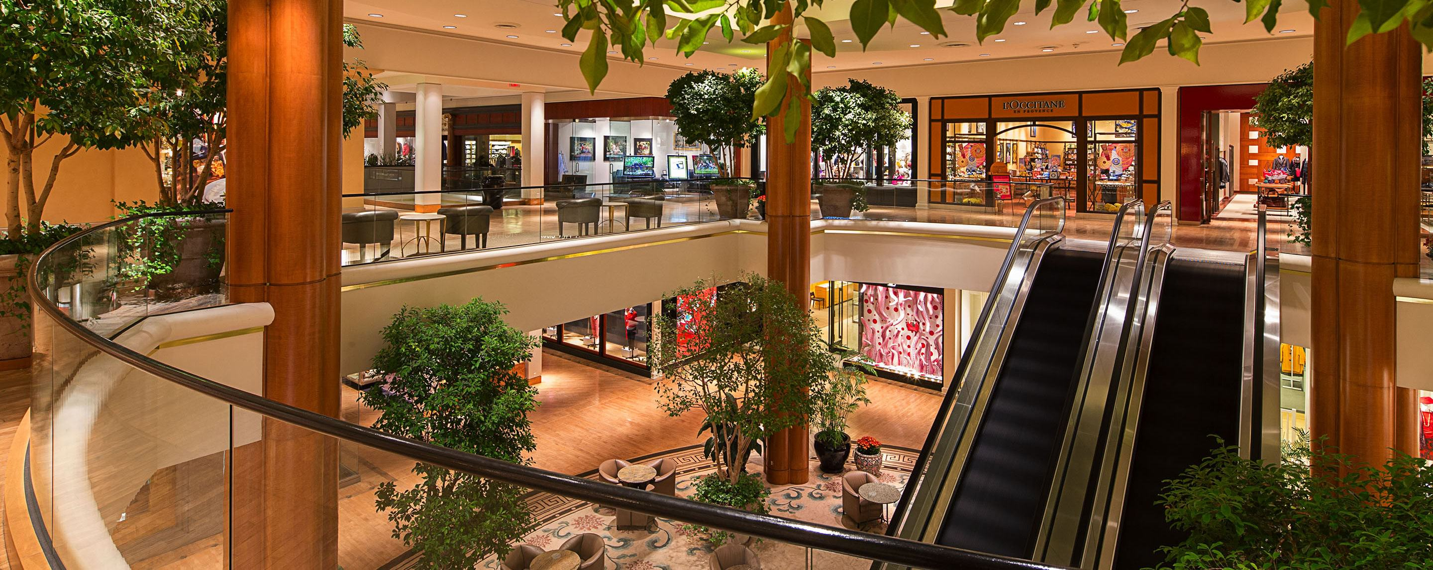 Trees and plants decorate the area of a two storied shopping center with an escalator.