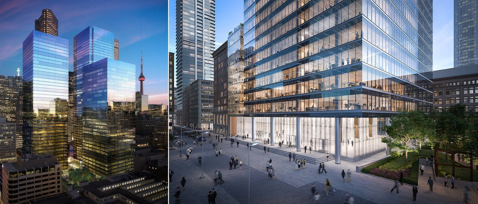 Two exterior shots of the building, including one from the ground.