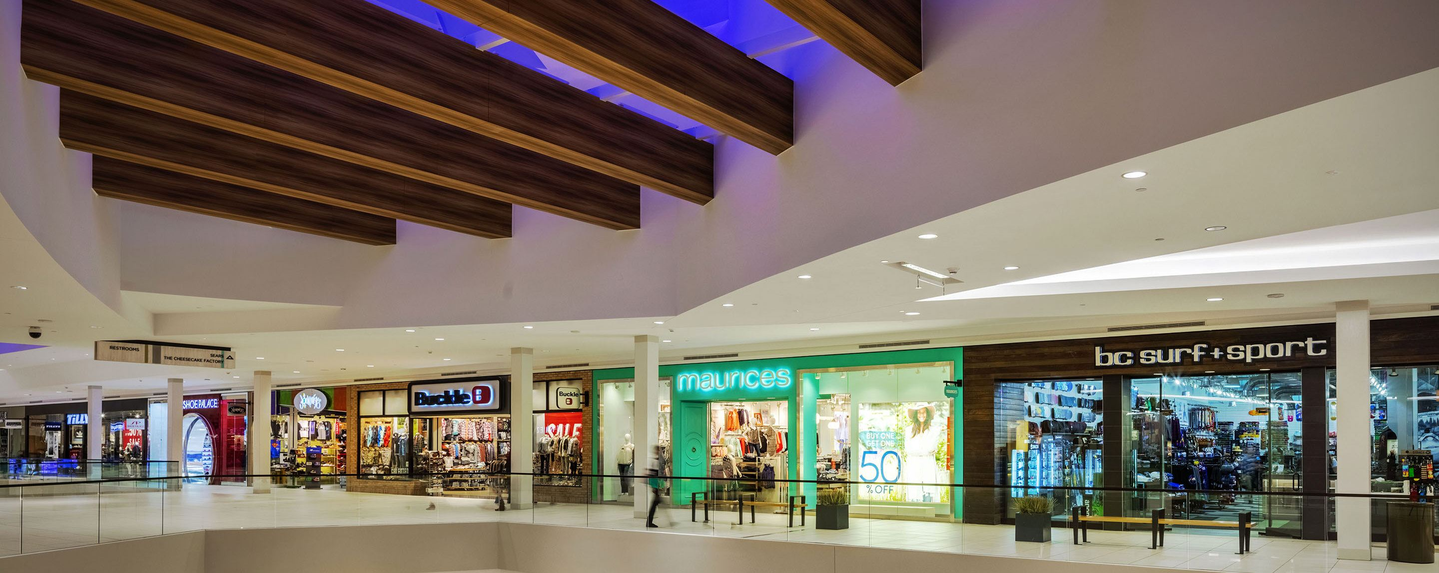 The second floor of this mall is home to Buckle, maurices, Tillys, Shoe Palace, BC Surf and Sport and Journeys retail stores.
