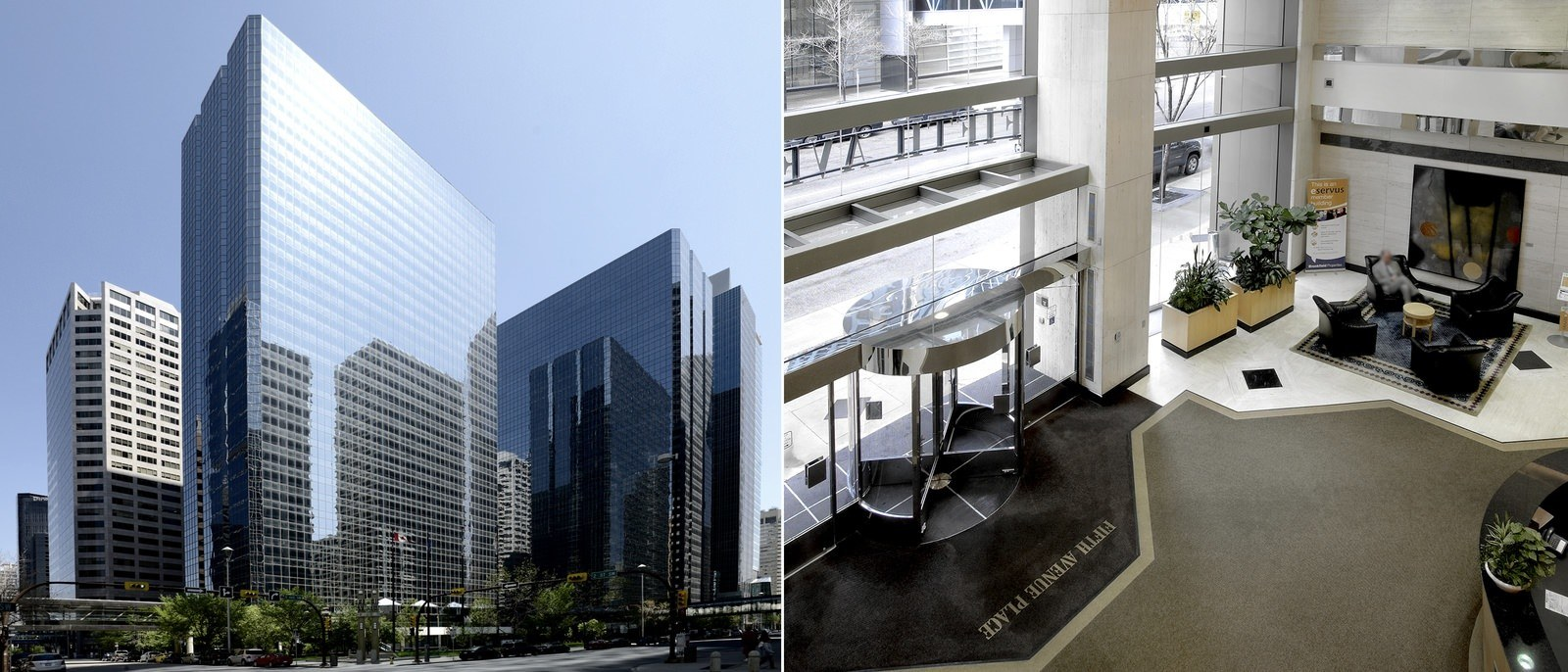 Exterior view of a large building and an interior view looking down on a black and white lobby,