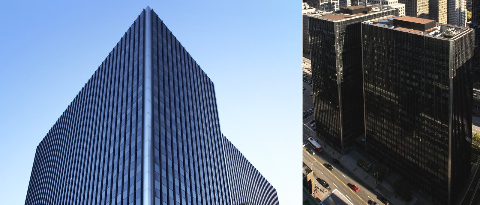 A tall black building that is located next to one that looks nearly identical to it forming a T shap