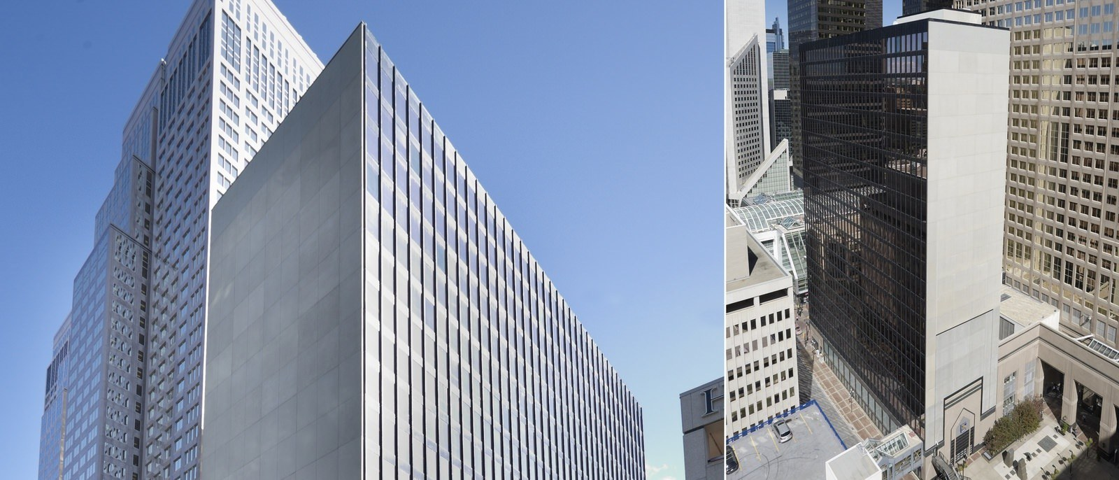 A narrow glass building that is built in the middle of a downtown area near other buidings.