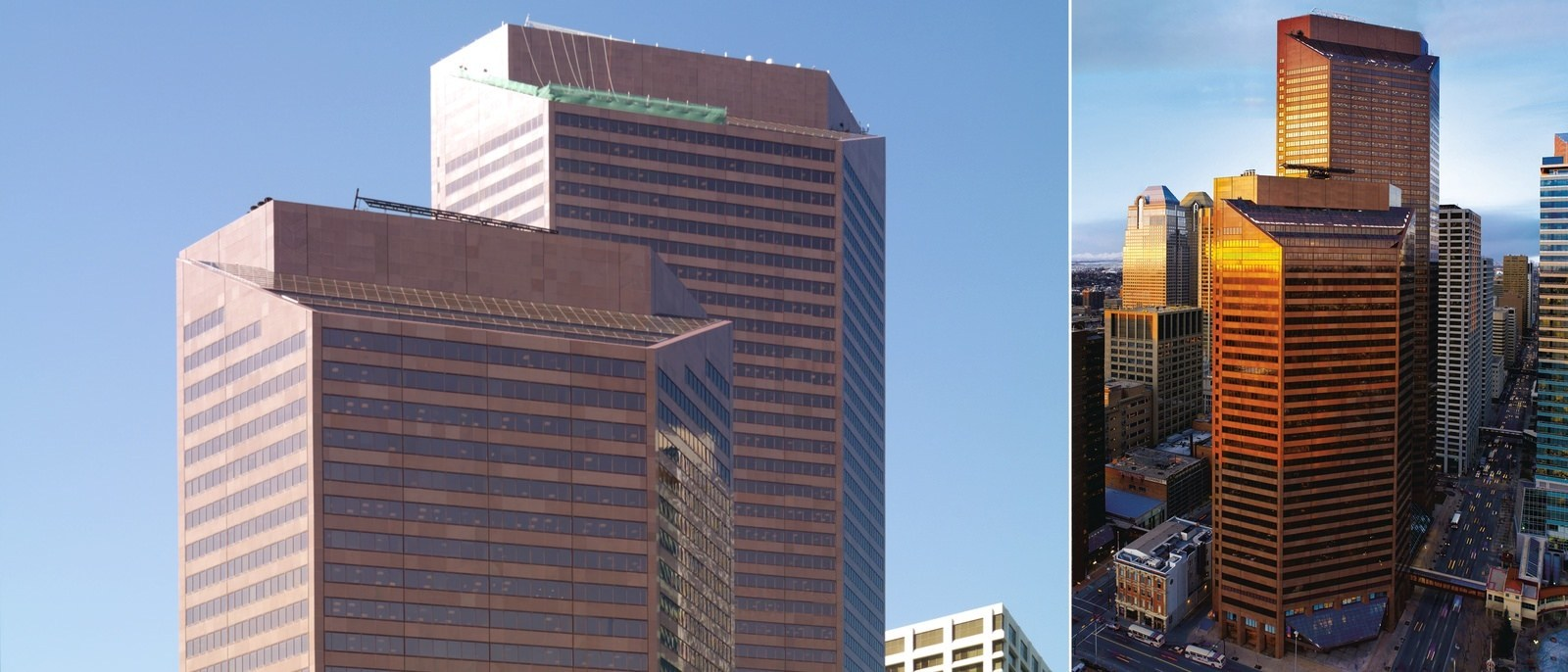 A hero banner consisting of two different exterior shots of a large red skyscraper.